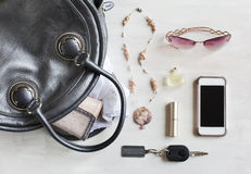 Woman bag and accessories Stock Image
