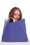 Woman in bag Royalty Free Stock Images