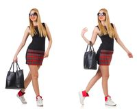 The woman with bag in fashion concept Stock Images