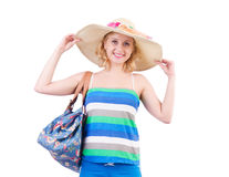 Woman with bag in fashion Royalty Free Stock Images