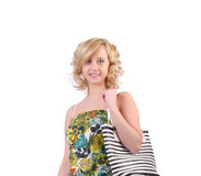 Woman with bag in fashion Royalty Free Stock Photography