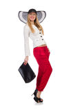 Woman with bag in fashion Royalty Free Stock Photos