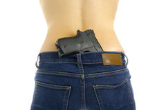 Woman bag with a gun. Royalty Free Stock Images