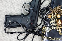 Woman bag with gun hidden, Handgun and accessories. Stock Photos