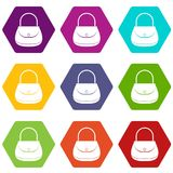 Woman bag icon set color hexahedron Royalty Free Stock Image