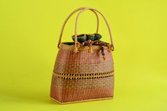 Woman bag. A bag is made of the wood weaves for a woman Stock Image