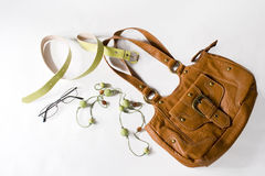 Woman bag and other accessories Royalty Free Stock Photography
