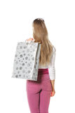 Woman with bag rear view Stock Image