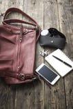 Woman bag stuff, handbag Stock Photography
