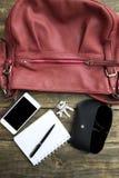 Woman bag stuff, handbag Stock Photos