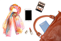 Woman bag stuff isolated on white background Royalty Free Stock Photos
