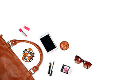 Woman bag stuff isolated on white background Stock Photography