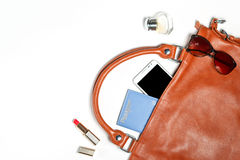 Woman bag stuff isolated on white with space for text Royalty Free Stock Photography