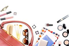 Woman bag stuff, travel concept. Beauty products, trendy accessories, passport, smartphone, copy space Stock Image
