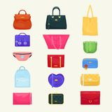 Woman bag vector girls handbag or purse and shopping-bag or baggy package from fashion store illustration set of Stock Images