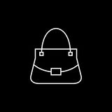 Woman bag vector icon. Woman bag line icon, fashion, luxury vector graphics, a linear pattern on a black background, eps 10 Stock Illustration