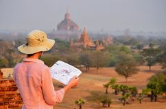 Woman in Bagan during sunshine. Burma royalty free stock images
