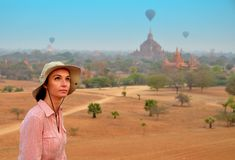 Woman in Bagan during sunshine Stock Photo