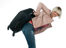 Woman with baggage Royalty Free Stock Image