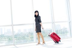 Woman with baggage Royalty Free Stock Images