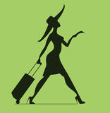 Woman with baggage and ticket. Time to Travel Stock Photography