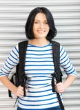 Woman with bagpack Stock Image