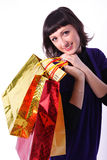 Woman with bags. Beautiful woman with bags on a white background Royalty Free Stock Photography