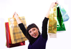 Woman with bags. Beautiful woman with bags on a white background Stock Photos