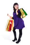 Woman with bags. Beautiful woman with bags on a white background Stock Photography