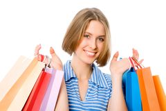 Woman with bags Stock Photography