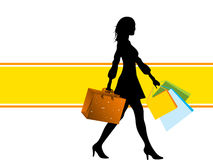 Woman with bags. On stripe stock illustration