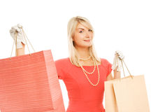 Woman with a bags royalty free stock photo