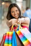 Woman with bags Royalty Free Stock Photography