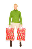 Woman with bags with Christmas gifts Stock Photo