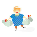 Woman with bags. Woman with grocery bags after shopping Royalty Free Stock Image