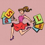 Woman bags sale. The buyer runs to the store. Comic cartoon pop art retro illustration drawing vector illustration