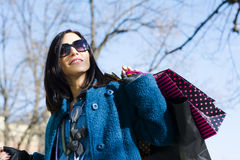 Woman with bags after shopping Royalty Free Stock Photography
