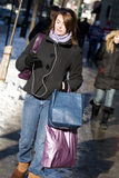 Woman with bags shopping on street Royalty Free Stock Images