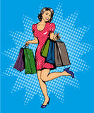 Woman with bags shopping. Vector illustration in comics pop art style. Special sale offers advertising poster.  Stock Photography