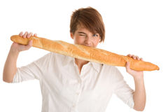 Woman with baguette Royalty Free Stock Photos