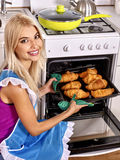 Woman bake cookies Royalty Free Stock Images