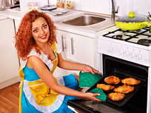 Woman bake cookies Stock Photo