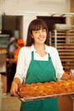 Woman in bakery Stock Photo