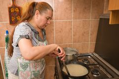 The woman bakes pancakes. Royalty Free Stock Photo