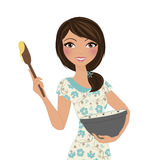 Woman baking. Baker woman in floral dress holding mixing bowl and spoon with batter Royalty Free Stock Image
