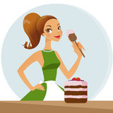 Woman baking cake. Cute brunette woman baking cake royalty free illustration