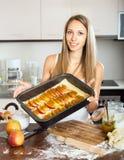 Woman baking cake Stock Photo