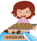 Woman baking chocolate chip cookies vector illustration
