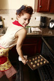 Woman baking cookies Royalty Free Stock Photo