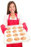 Woman baking cookies isolated Royalty Free Stock Images